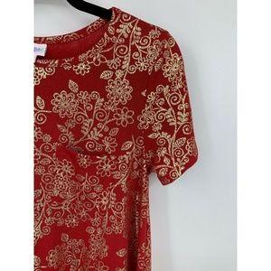 LuLaRoe Dresses - lularoe Carly dress XS red gold foil rare metallic